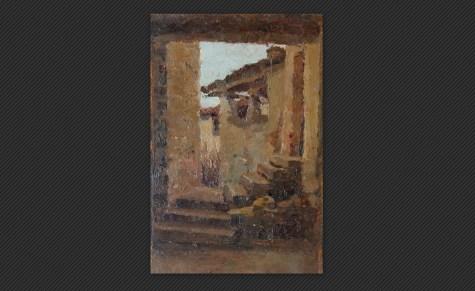 Ferruccio Giacomelli   Sormano, olio su tavola, cm. 17,5 x 11,2