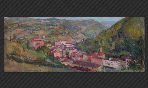 Ferruccio Giacomelli - Veduta di Porretta, olio su tela, cm. 60 x 150
