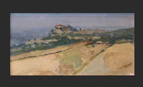 Giovanni Masotti - Veduta alla Croara, olio su tavola, cm. 7,5 x 14