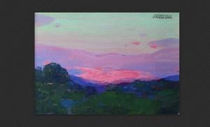 Ferruccio Scandellari - Paesaggio all'alba, olio su tavola, cm. 12 x 17,2