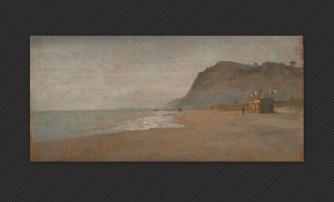Artista bolognese (XIX secolo) Spiaggia (Gabicce), olio su tavola, cm. 11,2 x 23,5