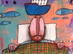 Quadro autore Daniele Gigli tecnica mista acrilico ,cartone ,gesso e sabbia