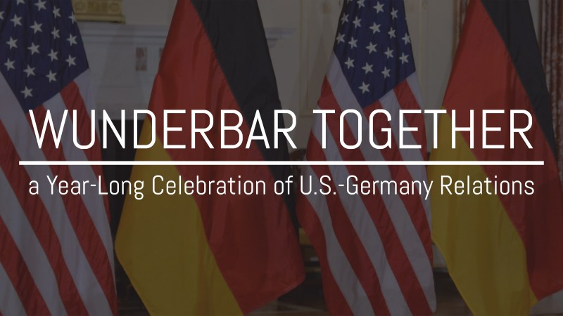 American and German flags with text WunderBar together over it