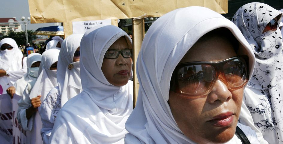 In Jakarta, Indonesian members of Ahmadiyah, an Islamic sect, demonstrate for religious freedom as the government considers a ban on their group.
