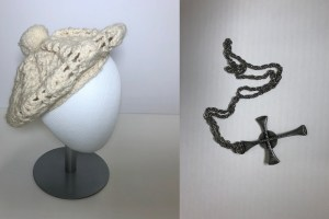 the beret and cross artifacts acquired for the collection this year