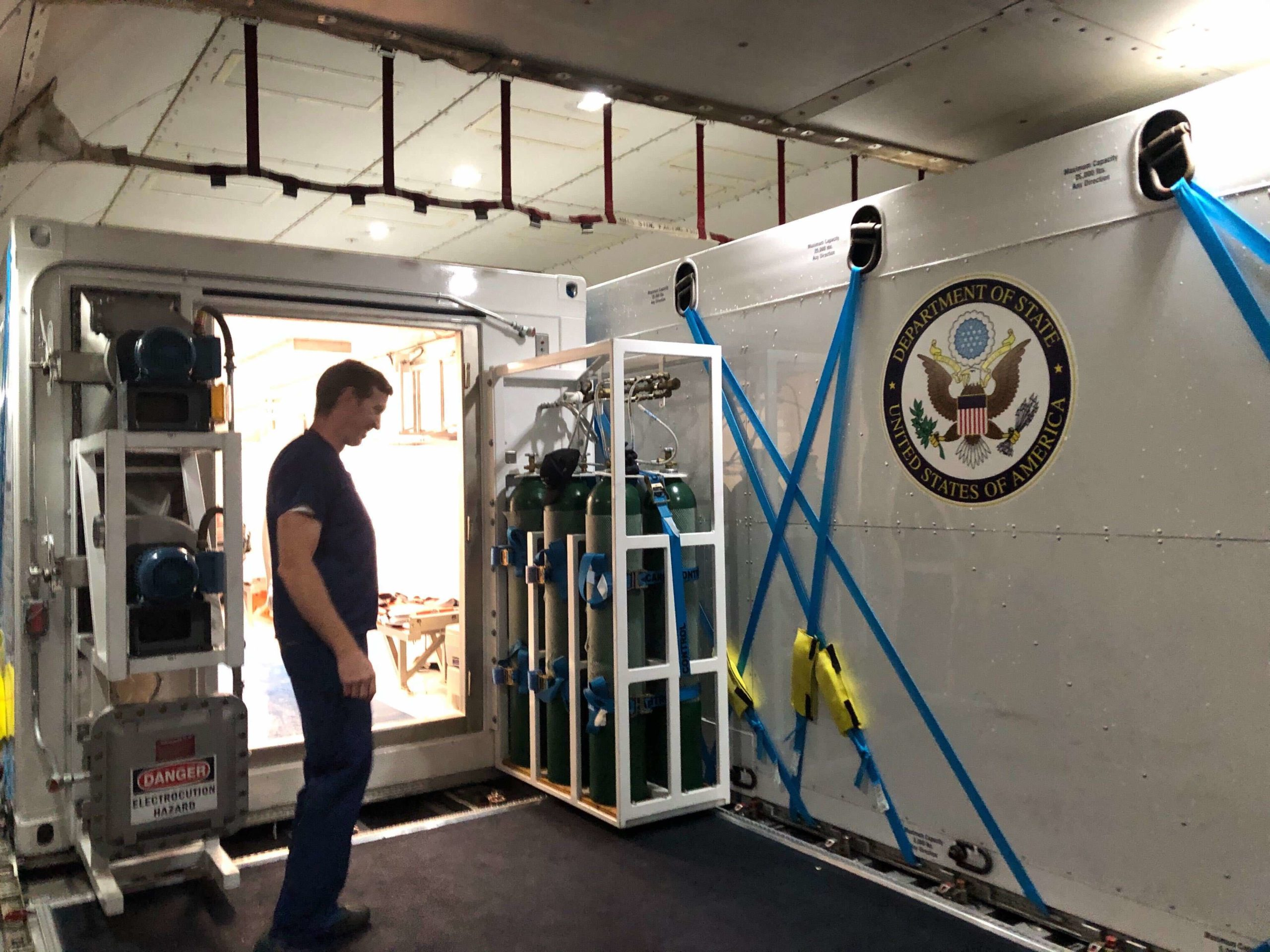 Operational Medicine utilizes Containerized Biohazard Containment Systems, or bio units, to bring contagious patients back to the United States. These high tech units are akin to a flying ambulance, fully equipped with supplies and monitoring devices to care for the patients.