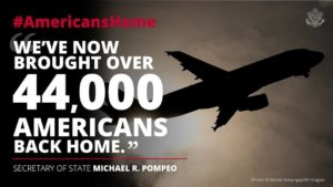 "The number of U.S. citizens repatriated surpasses 44,000. The Department's Economic Bureau supports colleagues in the field by arranging ""commercial rescue"" flights to bring Americans home."