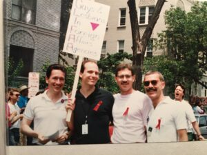 glifaa founders attend the 1992 Pride Parade in Washington, D.C. Left to right- Jan Krc, Bryan Dalton, David Larson, and David Buss.