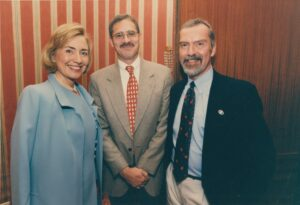 Buss and Larson with First Lady Hillary Rodham Clinton on her visit to Embassy Tallinn, circa summer 1996