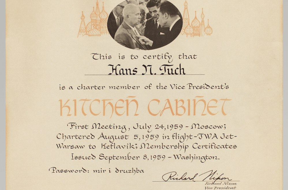 Certificate to Hans Tuch from Richard Nixon
