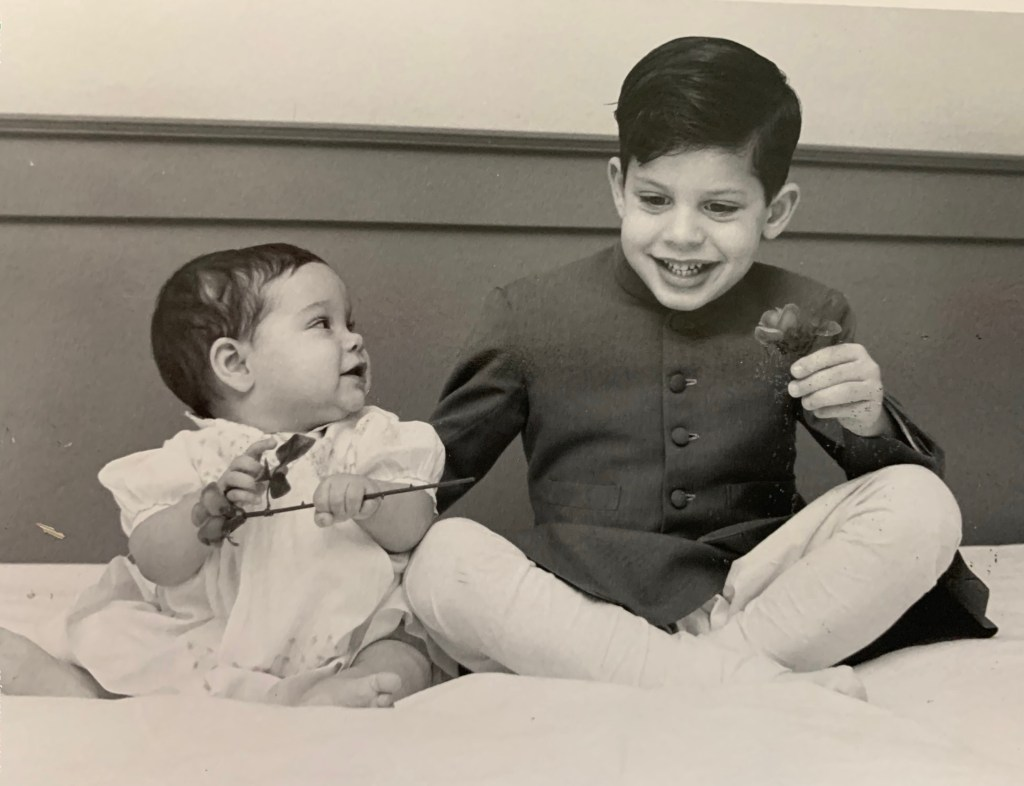 Lakhdhir with her brother.