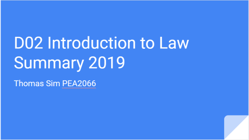 Summary Series – D02 Intro to Law