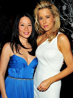 Lucy Liu and Téa Leoni at Wednesday's UNICEF Ball in NYC.