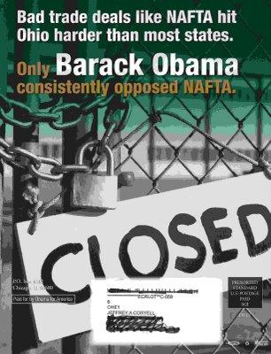 Anti-NAFTA Obama flyer from the Ohio primary.
