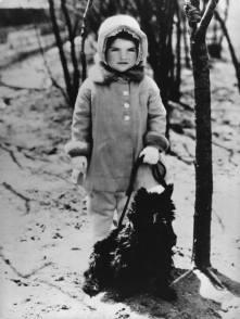 Jaqueline Bouvier with her Scottie, Hootchie, in Central Park