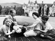 The Queen and Prince Philip with three of their children (Anne, Andrew and Charles), at Balmoral