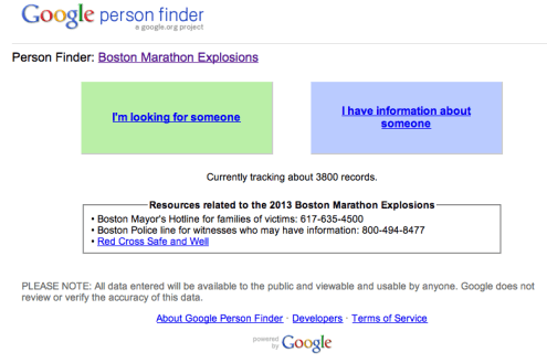 google person finder for boston marathon explosions plus hotline