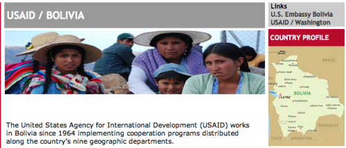 Screen Capture of USAID/Bolivia