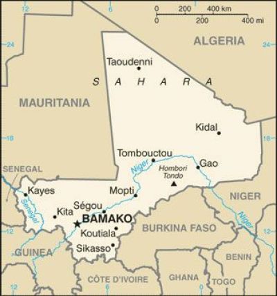 Mali Map from CIA World Fact Book