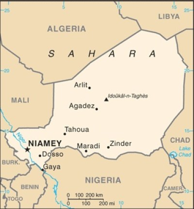 Niger Map from CIA World Fact Book