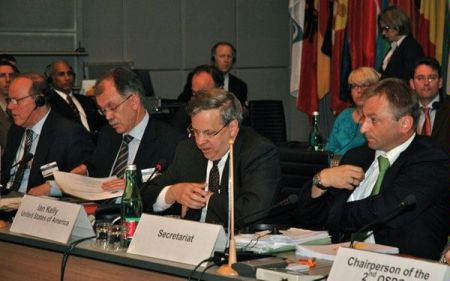 U.S. Ambassador to the OSCE Ian Kelly speaks at the Open Skies Treaty Review Conference.