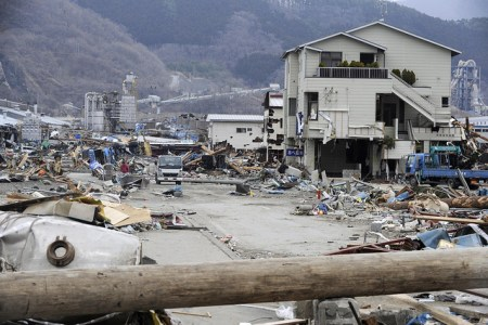 Debris fills the land in Ofunato, Japan after a tsunami during a search and recovery mission on March 15, 2011. Members of the Los Angeles Search and Rescue Team, Task Force 2 are responding to the recent national emergency in Japan due to the earthquake while providing needed care, rescue techniques and tools.