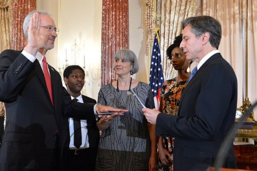 "Deputy Secretary Blinken Swears in Stephen Schwartz as the New U.S. Ambassador to Somalia Deputy Secretary of State Antony ""Tony"" Blinken swears in Stephen Schwartz as the new U.S. Ambassador to Somalia in a ceremony at the U.S. Department of State in Washington D.C., on June 27, 2017. [State Department Photo/ Public Domain]"