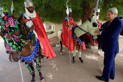 Secretary Kerry Examines Some of the Sultan's Parade Horses in Sokoto U.S. Secretary of State John Kerry, joined by Sultan Muhammadu Sa'ad Abubakar, examines some of the Sultan's parade horses after delivering a speech about countering violent extremism and promoting good governance following a meeting with government officials and religious leaders at the Sultan's Palace in Sokoto, Nigeria, on August 23, 2016. [State Department Photo/ Public Domain]