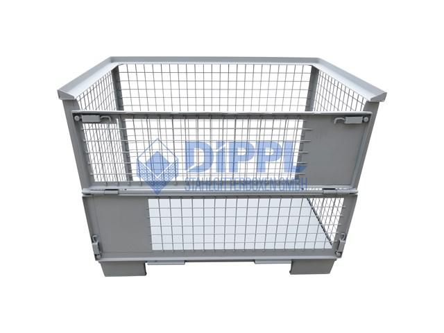 Gitterbox mit Stahlblechboden