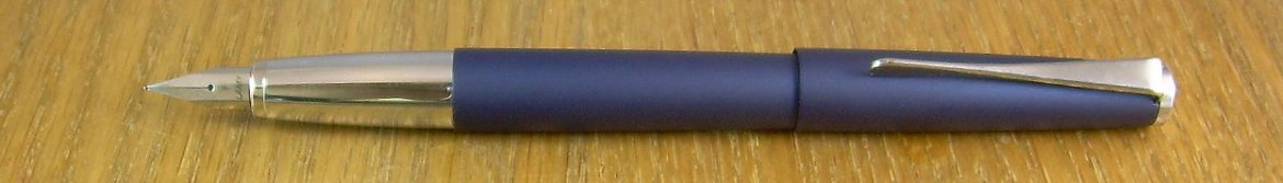 "Lamy Studio, in what is either ""Matte Blue"" or ""Imperial Blue"", depending upon the source."