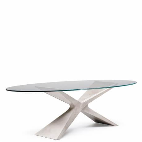 nexus table ovale en baydur et verre 280 x 120 cm de midj