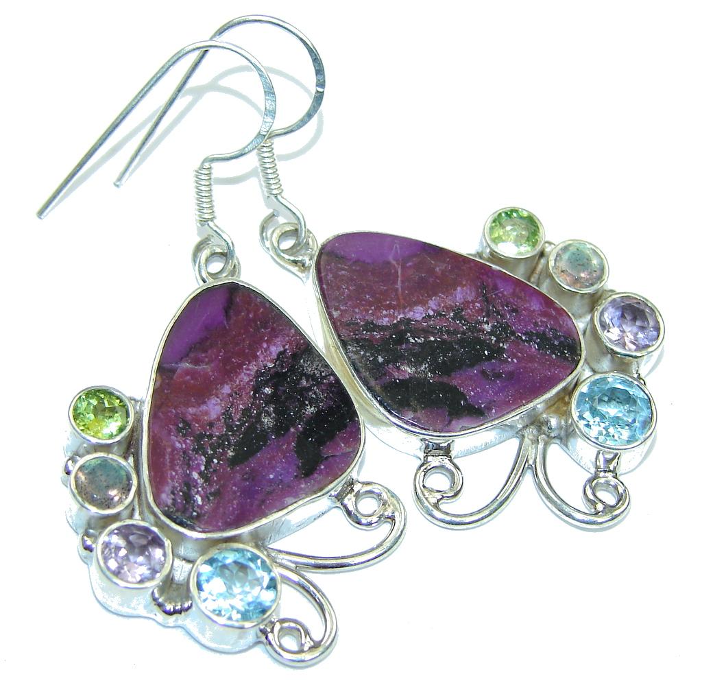 Excellent Design Purple Turquoise Multigem Sterling Silver earrings