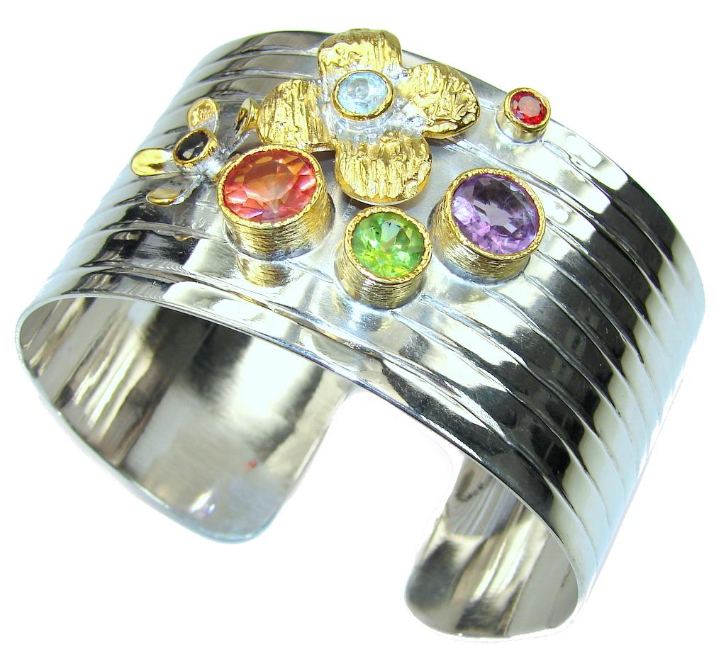 Aura Of Beauty! Multicolor Quartz,Two Tones Sterling Silver Bracelet / Cuff