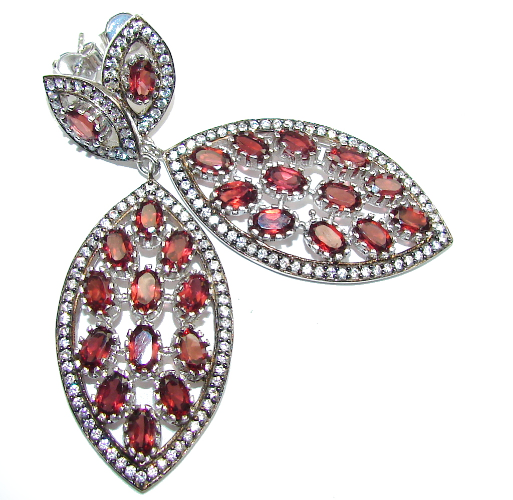 Big! Natural Red Garnet & White Topaz Sterling Silver earrings