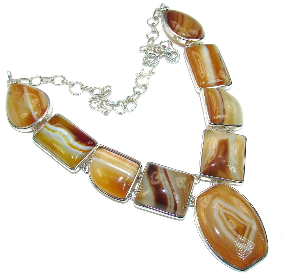 Dainty Daisy!! Brown Botswana Agate Sterling Silver necklace