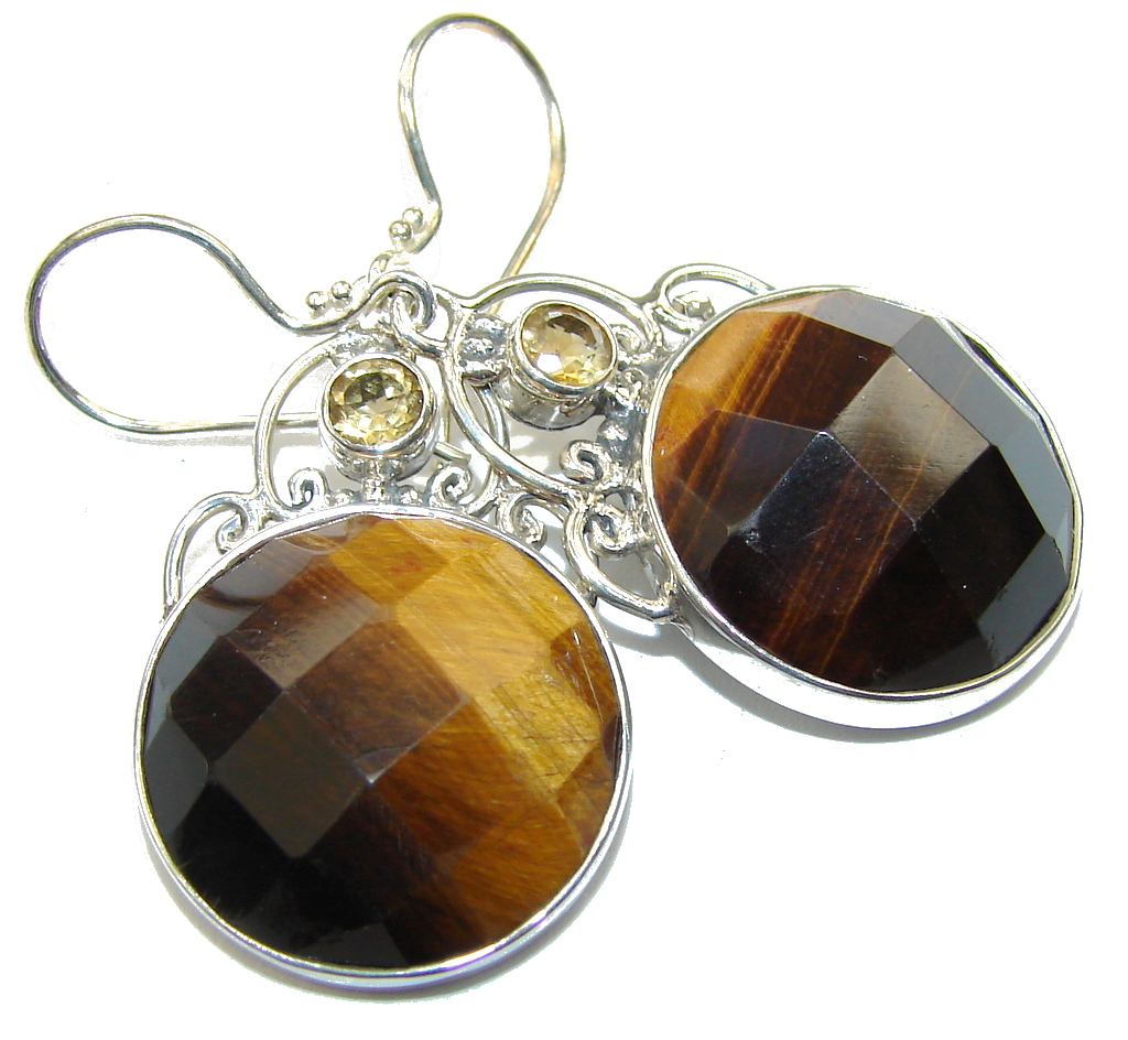 Delicate Brown Tigers Eye & Citrine Sterling Silver Earrings