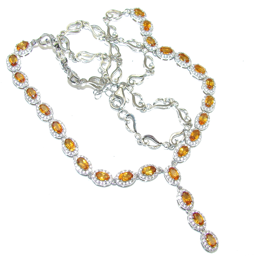 AAA Rich Natural Citrine & White Topaz Sterling Silver necklace