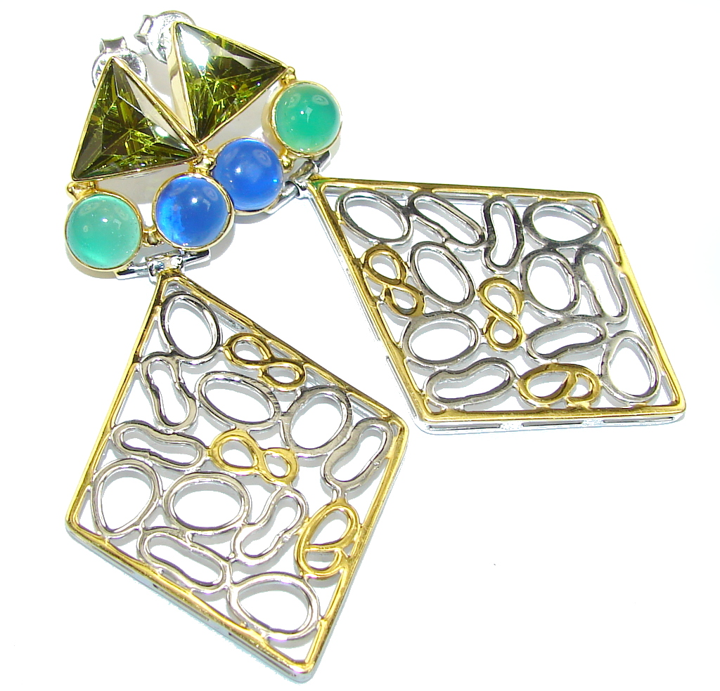 Big! Modern Blue & Green Quartz, Two Tones Sterling Silver Earrings
