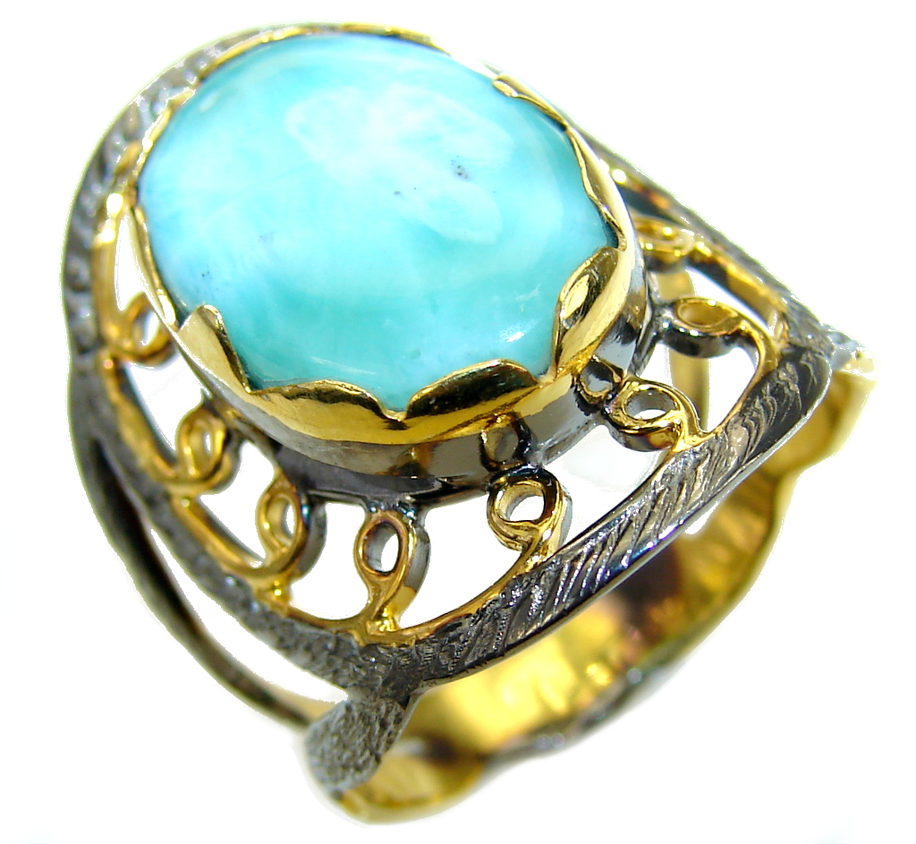 Exotic Style! AAA Blue Larimar, Gold Plated, Rhodium Plated Sterling Silver Ring s. 9