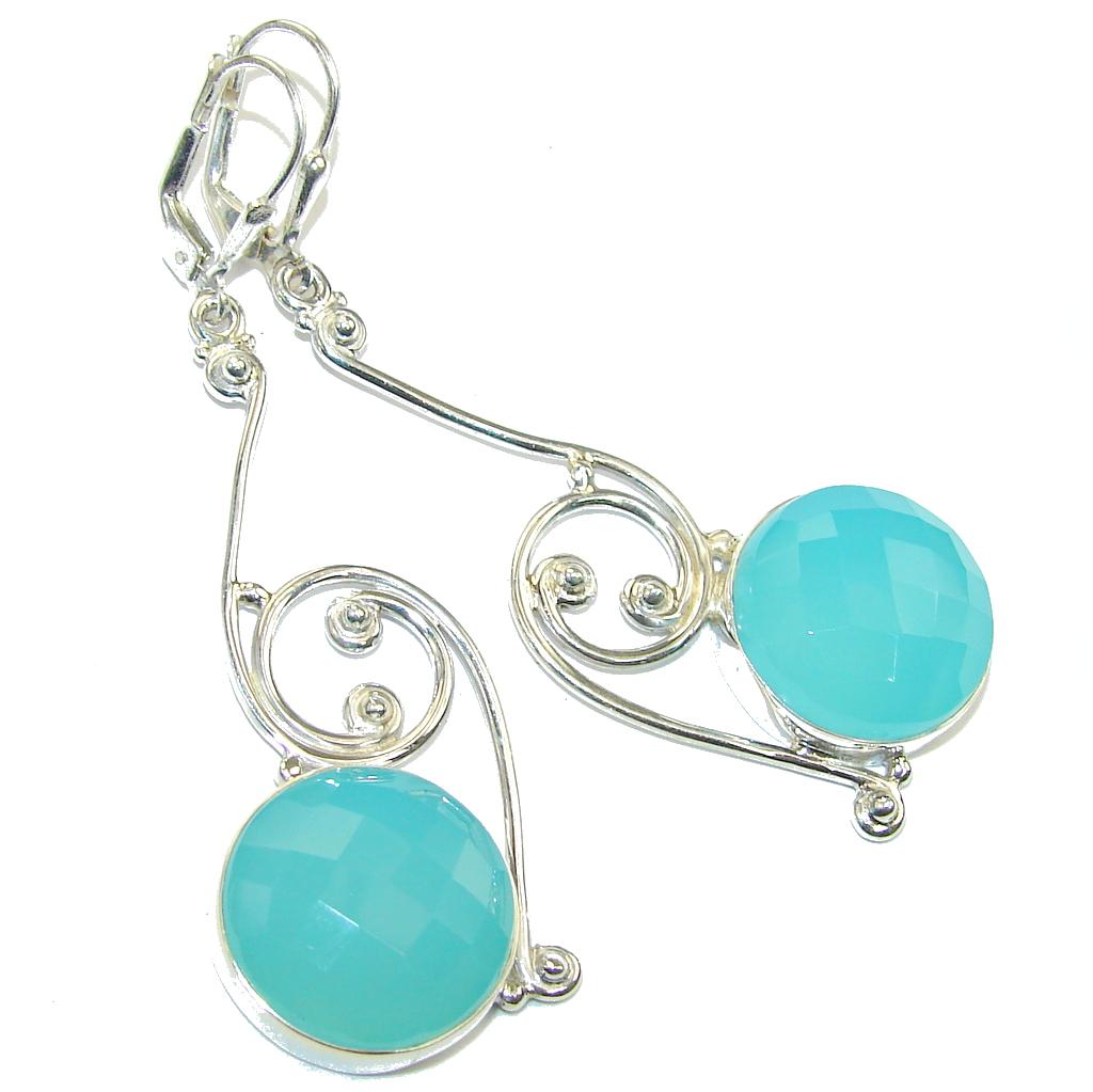 Created LIght Blue Aquamarine Sterling Silver Earrings