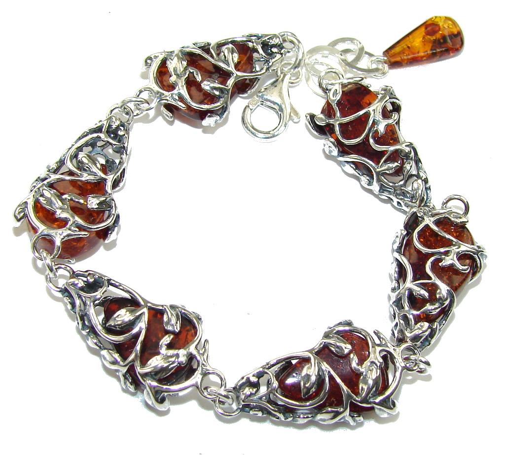 Rich Design Genuine AAA Polish Amber Sterling Silver Bracelet