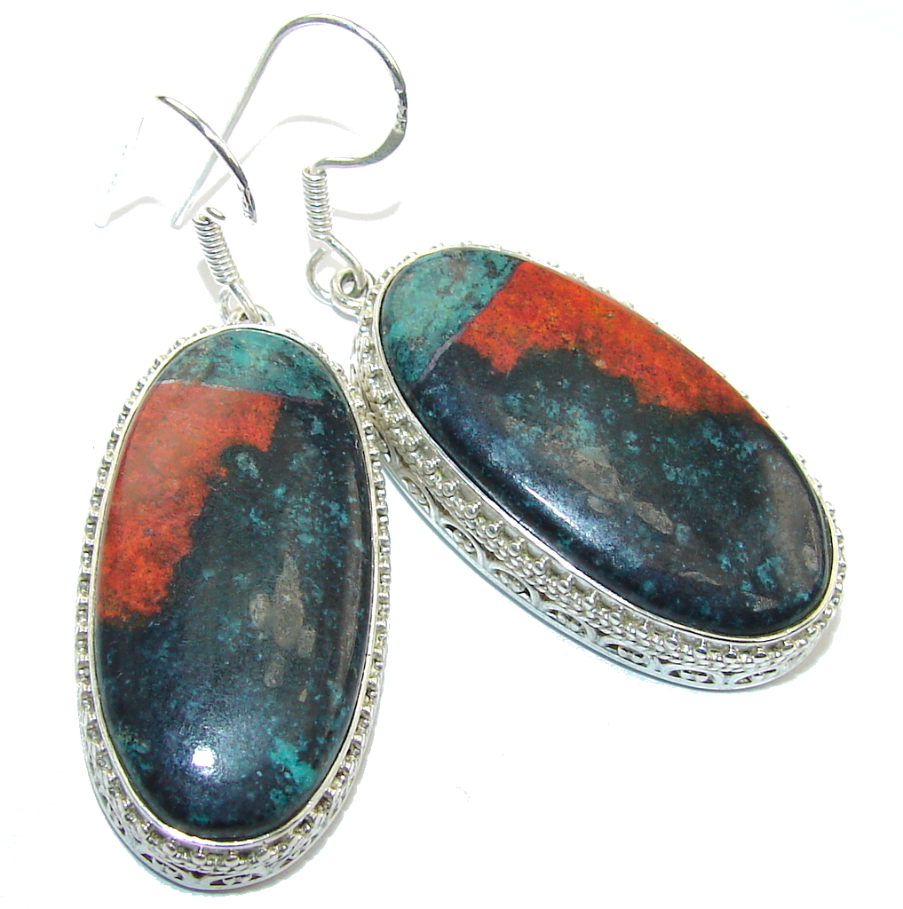 Big! Perfect Red Sonora Jasper Sterling Silver Earrings
