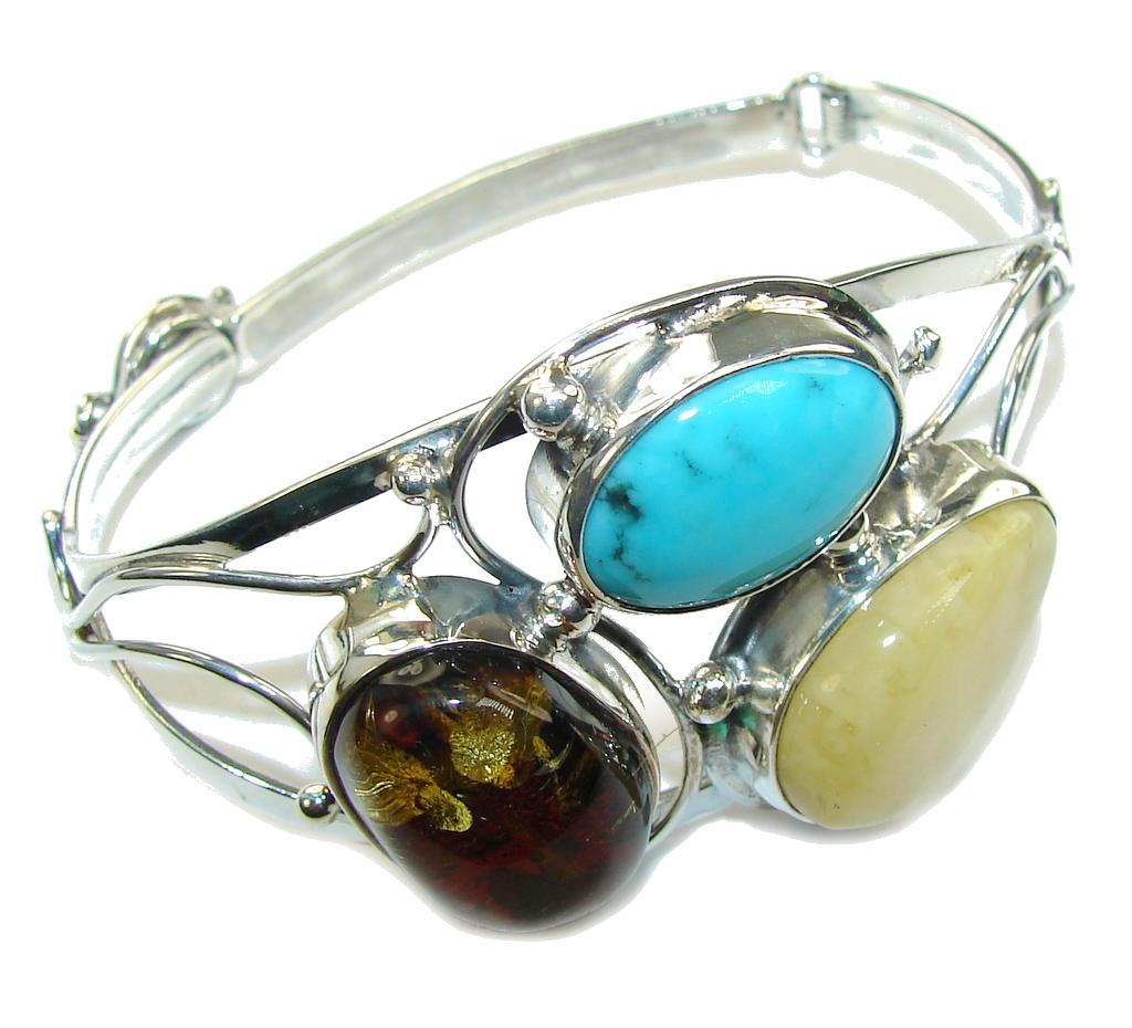 Stylish Beauty! AAA Baltic Polish Amber & Turquoise Sterling Silver Bracelet