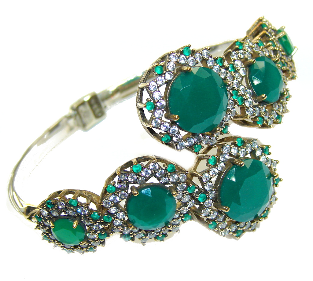 Victorian Style! Green Agate & Emerald Sterling Silver Bracelet