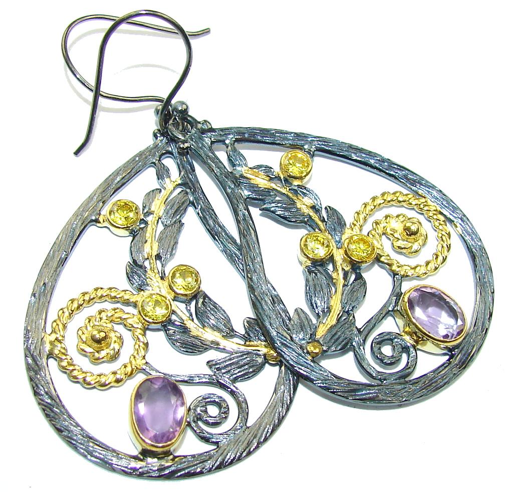 Genuine AAA Purple Amethyst, Gold Plated, Rhodium Plated Sterling Silver earrings