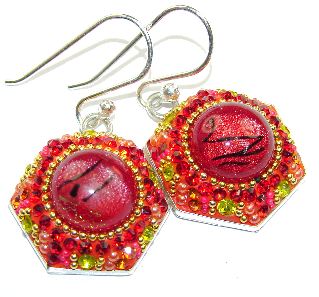 Handcrafted In Mexico Red Dichroic Glass Sterling Silver earrings