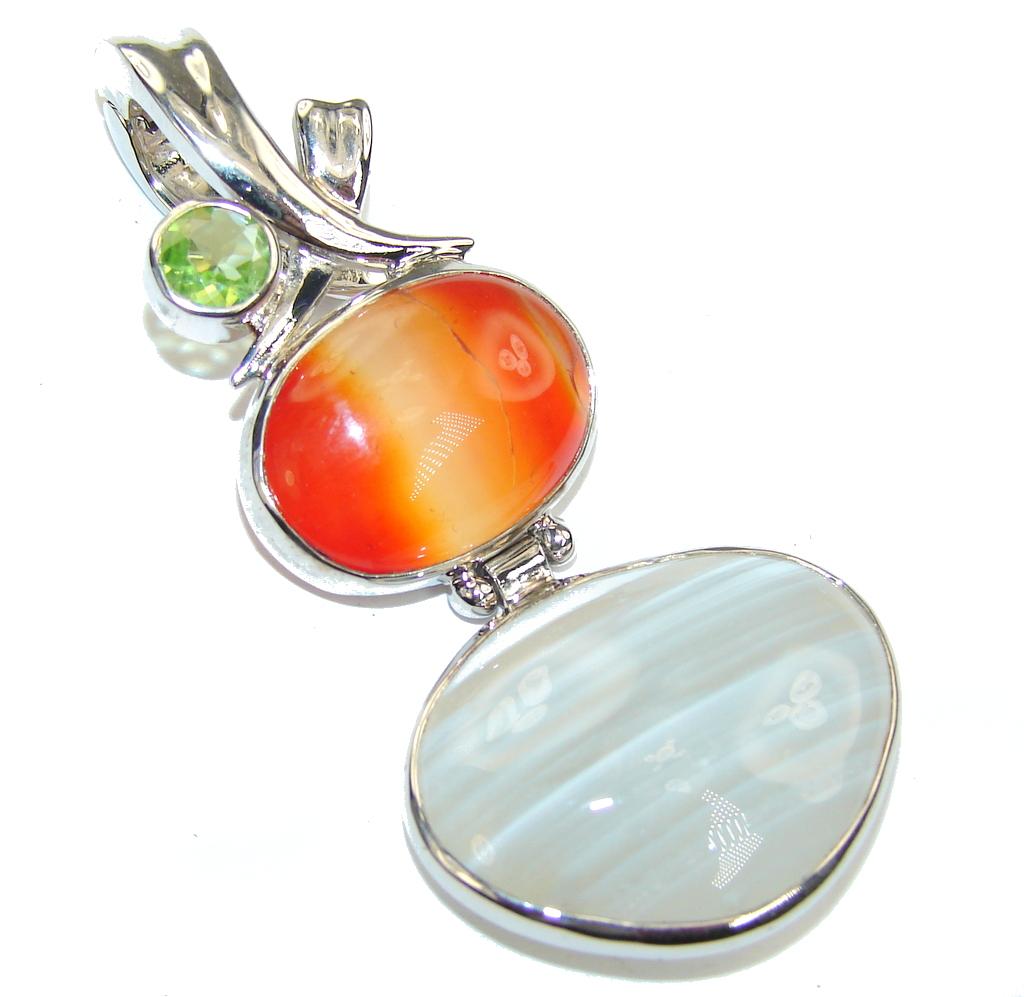 Amazing Multicolor Agate Sterling Silver Pendant