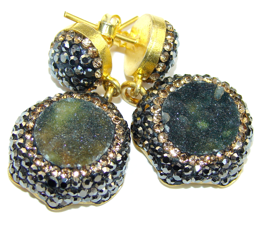 Classic Design Gray Druzy Gold plated Sterling Silver Earrings