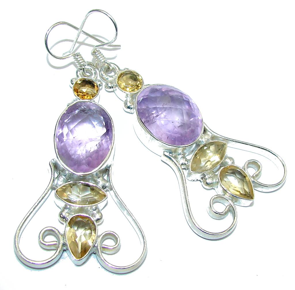 Fancy Pink Amethyst & Citrine Sterling Silver Earrings