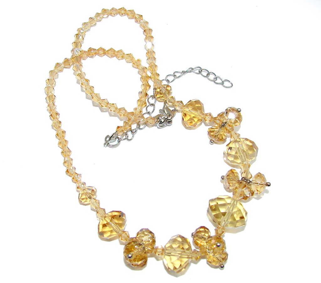 Beauty Created Yellow Crystal Silver Overlay necklace